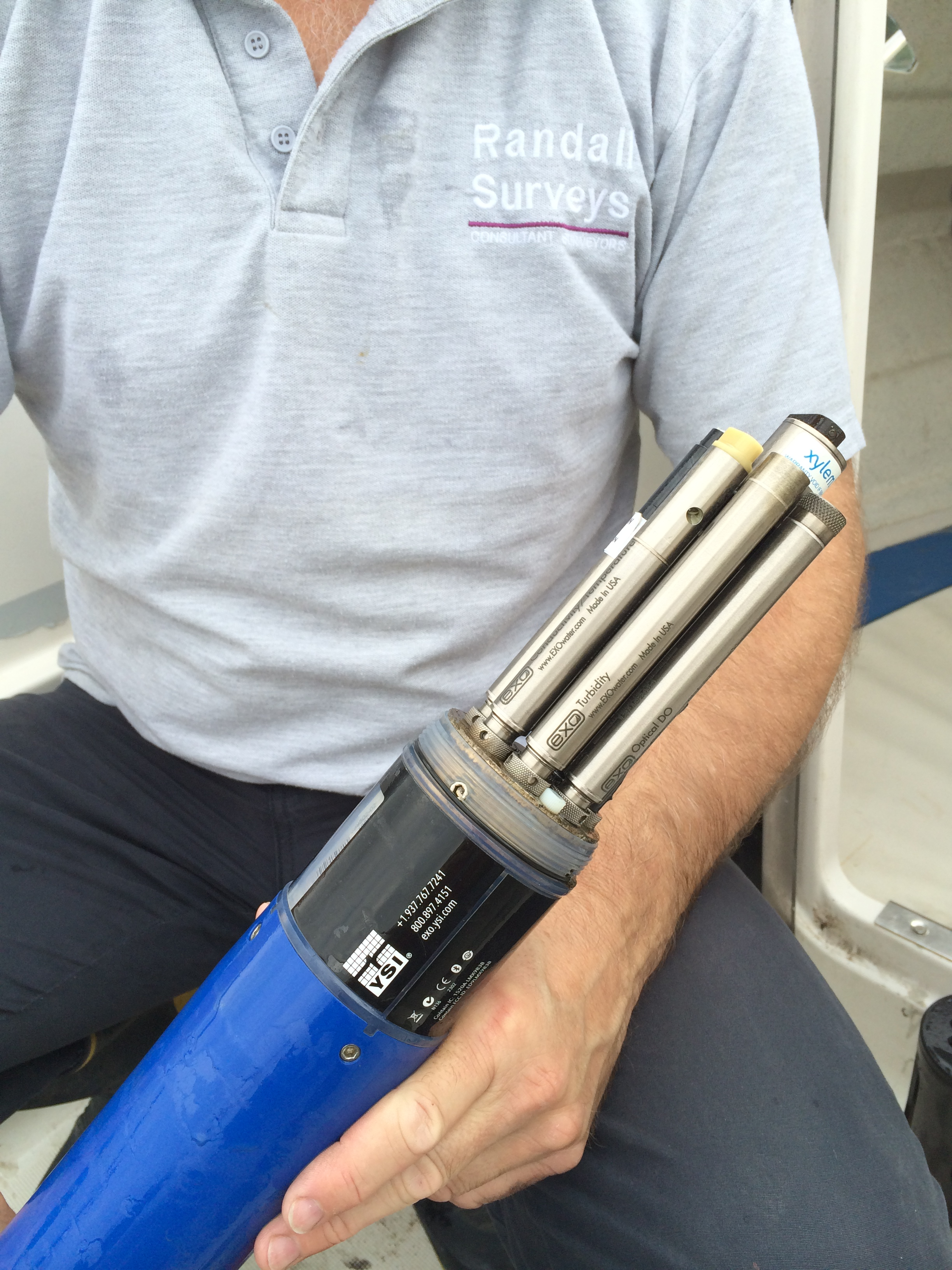 One of the YSI EXO2 sondes being readied for deployment